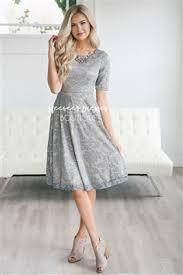 Pretty Sage Lace Modest Dress Vintage Church Dresses For