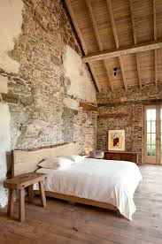 Stone Wall Bedroom Design Rustic Look Wooden Floor