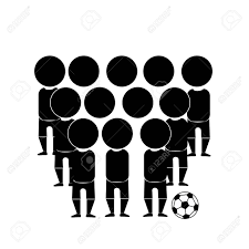 Black Silhouettes A Soccer Team In A White Background Royalty