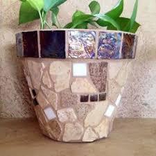 Mosaic Planter Rustic Flower Pot Outdoor Patio Indoor Herb Country Kitchen Pots Terracotta Handmade