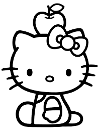 Hello Kitty Balance Apple On Head Coloring Page