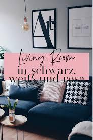 wohnzimmer in schwarz weiß rosa und grau dekorieren