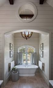 100 Exposed Joists Soaking Tub Has Its Own Nook With Shiplap Trim And Exposed