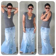 diy tutorial reconstructed jeans to fabulous maxi fashion