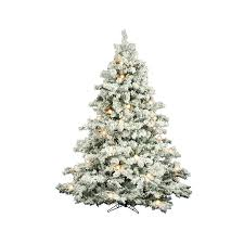 Flocked Christmas Trees Decorated by Shop Vickerman 7 5 Ft Pre Lit Alaskan Pine Flocked Artificial