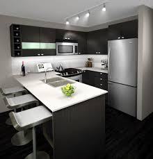 16 Modern Grey Kitchen Cabinets To Inspire You 3D Rendering With Small Bar Along