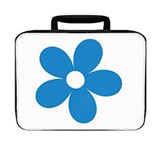 Flower Blue Simple Drawing Insulated Lunch Box Bag