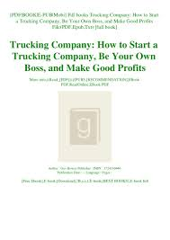 100 Starting A Trucking Company Pdf Books How To Start A