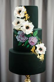 Black And White Flowers For Wedding Cake