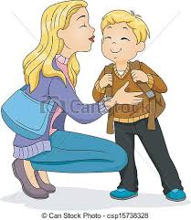 Goodbye Kiss Illustration of a Caucasian Mother Planting a