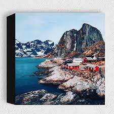card norwegen svolvær moderne kunstdruck holzbilder deko für wohnzimmer schlafzimmer oder als geschenk idee zum hinstellen auf dem tisch