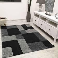moderner teppich kariert anthrazit schwarz weiss teppich muster vimoda homestyle