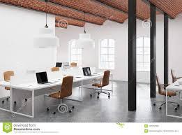 100 Brick Ceiling Open Space Office Beige Side Stock Illustration