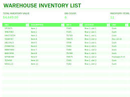 03 Warehouse Inventory Excel Spreadsheet Sample
