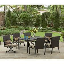 Resin Wicker Chairs Walmart by Better Homes And Gardens Layton Ridge 7 Piece Patio Dining Set