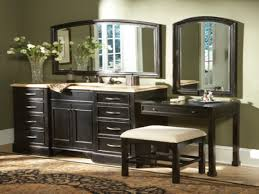 rustic black stained oak wood vanity sink with makeup table of