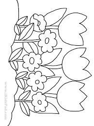 Preschoolers Www Mindsandvines Com Row Of Tulip Flowers Coloring Pages For Kids RISCOS PINTURA Flower