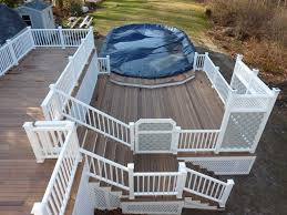 Multi-Level Above-Ground Pool Deck: Ipe (Ironwood) Decking; Vinyl ... View From The Deck Of Above Ground Pool Lowered 24 Below Backyards Appealing Backyard Vineyard Design Images With Stunning How To Find Level When Installing A Round Intex Metal Southview Outdoor Living Make Room For Swimming Pool 009761474jpeg Should I My Home To Level Ground For Above University Ideas Drain Gallery Ipirations Leveling Pictures Breathtaking
