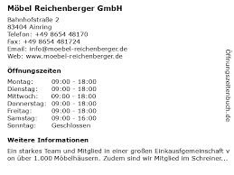 ᐅ öffnungszeiten möbel reichenberger gmbh bahnhofstraße