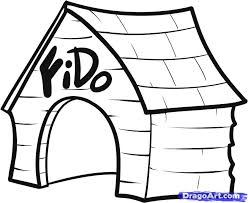 Dog House Drawing Animals Coloring Page