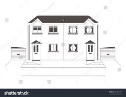 100 Semi Detached House Design Line Drawing Homes External Stock Vector