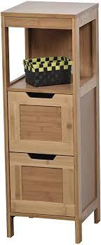 niedriger badezimmerschrank 2 schubladen 1 fach exotischer stil aus bambus