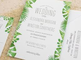 Tropical Themed Wedding Invitations The Watercolor Collection Palm Ba And Beach Letterpress