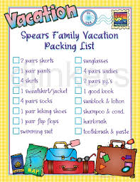 Travel Packing List Clip Art Suitcase