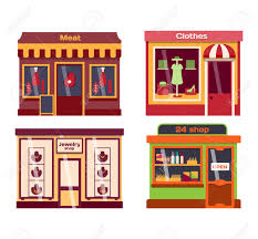 Set of vector flat design restaurants and shops facade icons Includes bakery pharmacy