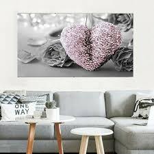 ungerahmt rosa herz grau blumen malerei leinwand kunst