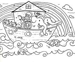 Noahs Ark Simple Drawing Ren Coloring Page