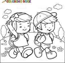 Coloring Book Kids Walk To School Royalty Free Stock Vector Art