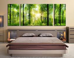 3 Piece Canvas Wall Art Bedroom Large Scenery Photography Green Multi