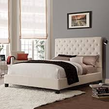 amazon com queen size contemporary platform bed with beige linen