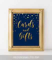 Elegant Wedding Sign Card Reception Decor Cards And Gifts Navy Gold Gift Table