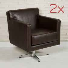 2er set retro lounge sessel braun lederoptik clubsessel