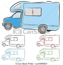 An Image Of Rv Camper Drawing Vectors