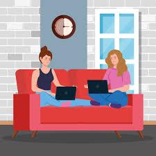 frauen arbeiten mit laptops im wohnzimmer