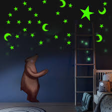 200pcs SelfAdhesive Glow In The Dark Cute 3D Star Moon Wall Sticker