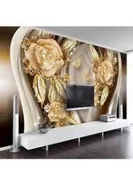 foto wallpaper european style 3d stereo goldene blume