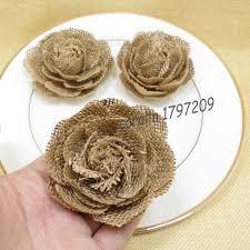 12pcs Lot Natural Jute Burlap Hessian Flower Handmade Vintage Wedding Decoration Hat Craft DIY Accessories