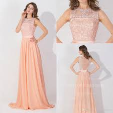 peach pink long high neck cheap prom dresses 2016 lace real image