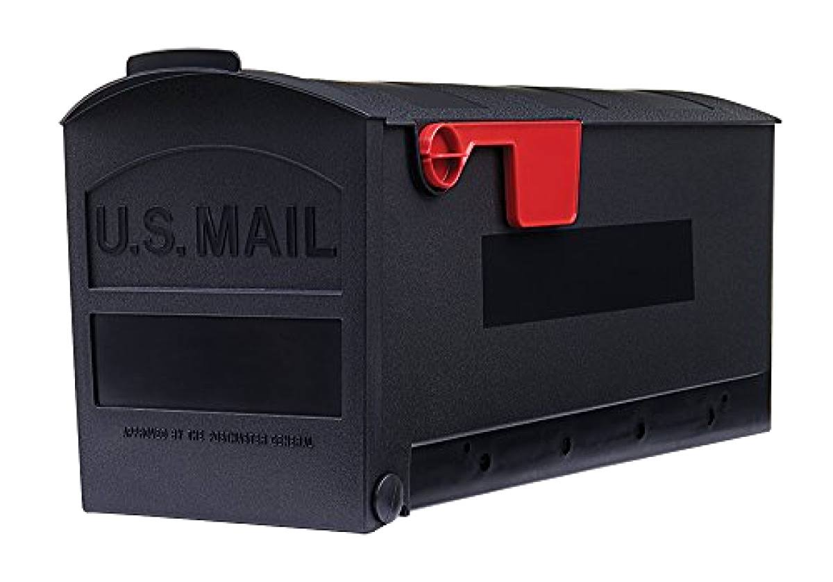 Rubbermaid Patriot Plastic Post Mount Mailbox - Black, Standard Size