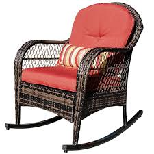 Sundale Outdoor Wicker Rocking Chair Rattan Outdoor Patio Yard Furniture  All- Weather With Cushions (Red) Charleston Acacia Outdoor Rocking Chair Soon To Be Discontinued Ringrocker K086rd Durable Red Childs Wooden Chairporch Rocker Indoor Or Suitable For 48 Years Old Beautiful Tall Patio Chairs Folding Foldable Fniture Antique Design Ideas With Personalized Kids Keepsake 3 In White And Blue Color Giantex Wood Porch 100 Natural Solid Deck Backyard Living Room Rattan Armchair With Cushions Adams Manufacturing Resin Big Easy Crp Products Generations Adirondack Liberty Garden St Martin Metal 1950s Vintage Childrens