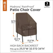 Classic Accessories Madrona Rainproof High Back Patio Chair ... Hubsch Patio Table Covers Rectangular Round Zipper Seater Modern Accent Fniture Home Console Tables Chairs Bookcases 63 Cover Store 2xl Large Oval Adorable Outdoor Set Cool Ding Setup Outside Chair New Protectors For Recliners Uk Decorating Ideas Railing Below Small Ana Side Diy Gold Terrazzo Standard Marvelous Wrought Iron And Living Parsons White Slipcovers Arrangement Licious Room Rooms Bath For Replacement Cushions