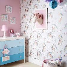 Arthouse Rainbow Unicorn White Glitter Wallpaper