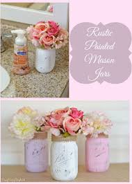Rustic Painted Mason Flower Vases