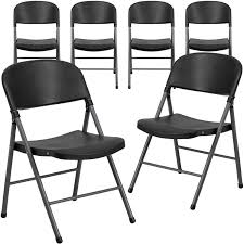 Black Plastic Folding Chair, Set Of 6 - Walmart.com