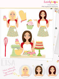 Baker girl character clipart cupcake woman clip art baking cakes retro mixer red floral blonde brunette and auburn hair Lisa L171
