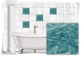 fliesen aufkleber folie marmor öl ölfarben abstrakt bad grün türkis wc deko küche